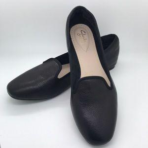 Clark Somerset Flat Black Slipper Size 9.5US 41 EU